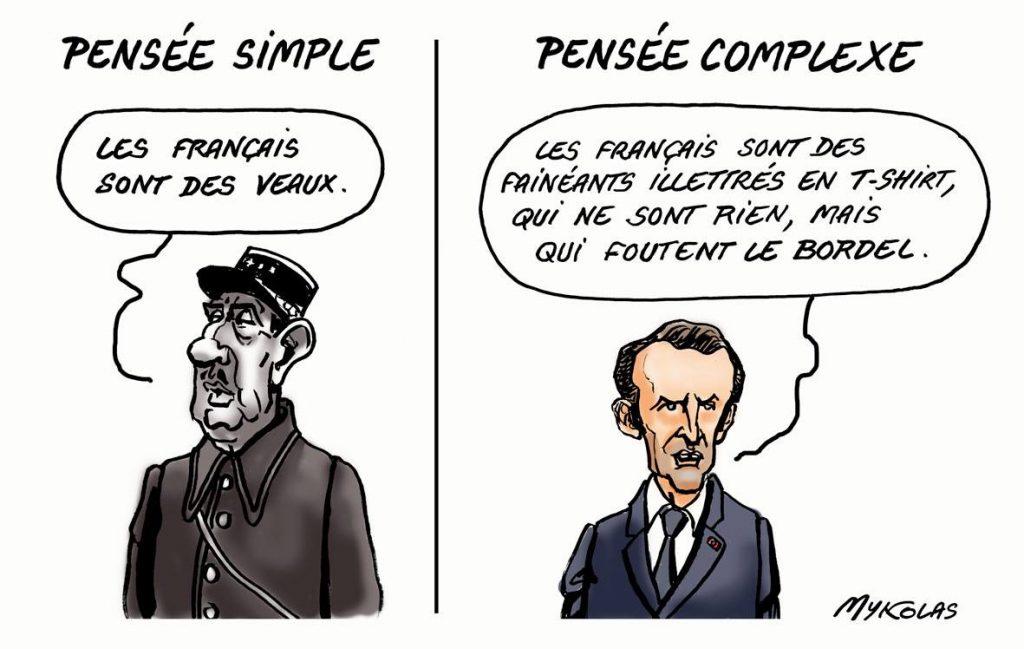 dessin d'actualité humoristique de Mykolas sur la pensée complexe d'Emmanuel Macron