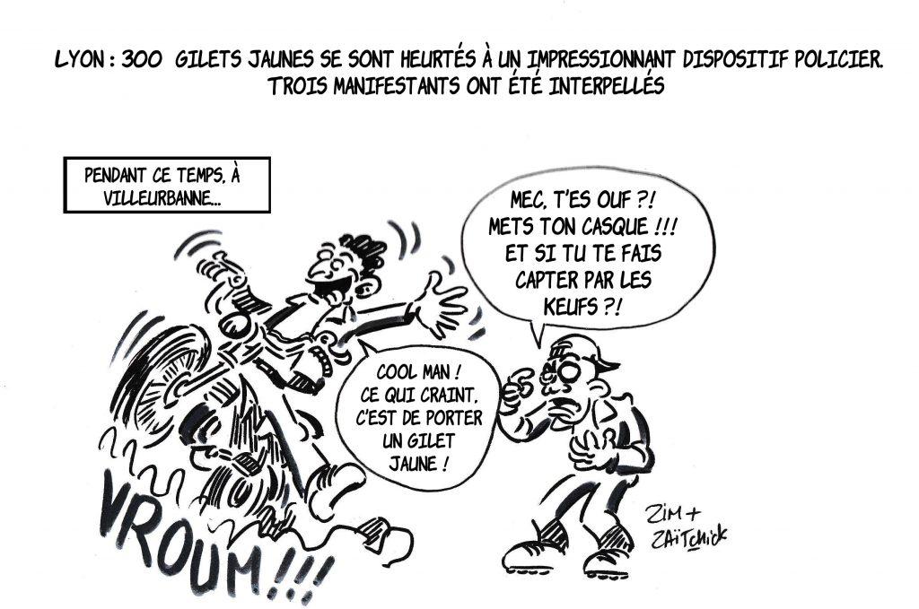 dessin de Zaïtchick sur la répression des gilets jaunes et l'impunité des racailles lors des rodéos