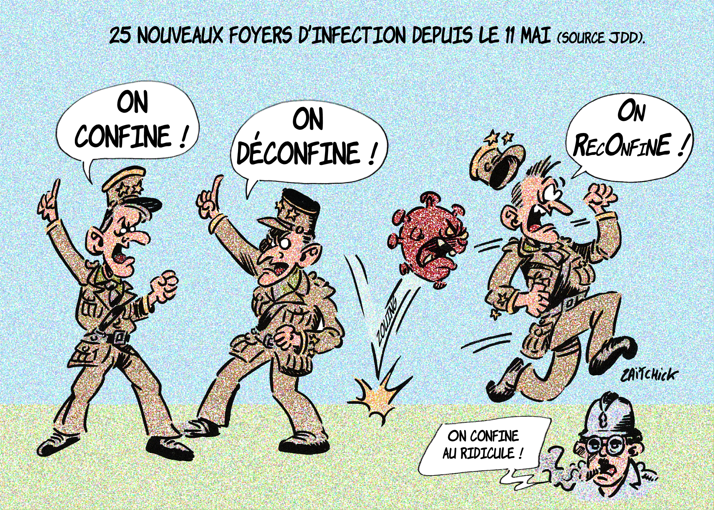 dessin de Zaïtchick sur la crise du coronavirus, le déconfinement et le Général de Gaulle et Emmanuel Macron