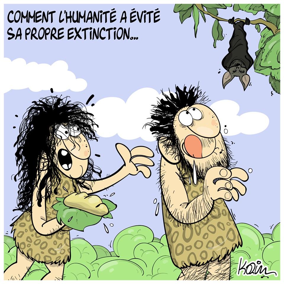 dessin d'actualité humoristique de Karim sur l'épidémie de coronavirus et les hommes préhistoriques