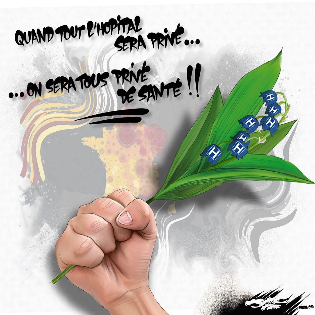 dessin d'actualité humoristique de Jerc sur l'épidémie de coronavirus, le confinement, l'hôpital public et le 1er mai