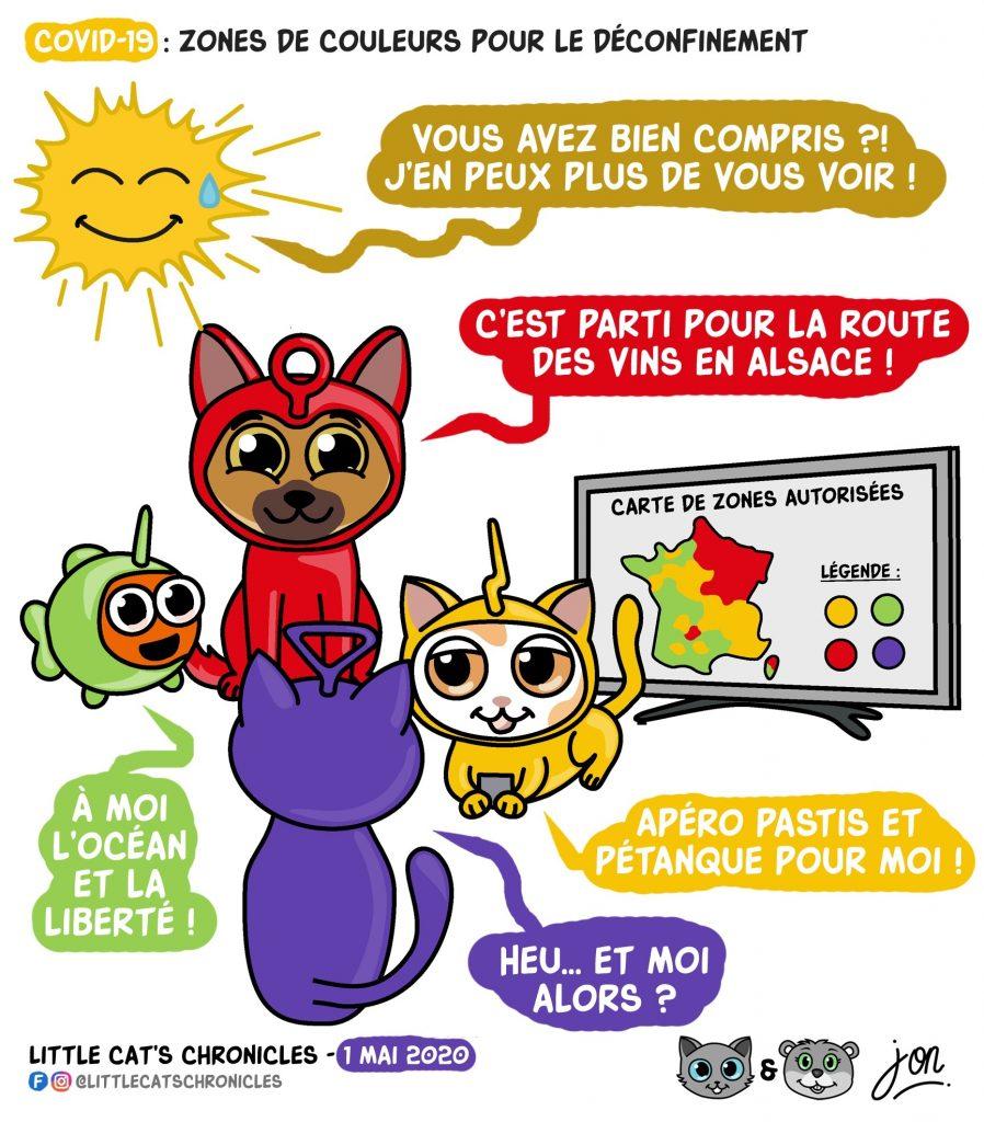 dessin humoristique des Little Cat's Chronicles sur le déconfinement par zones de couleur