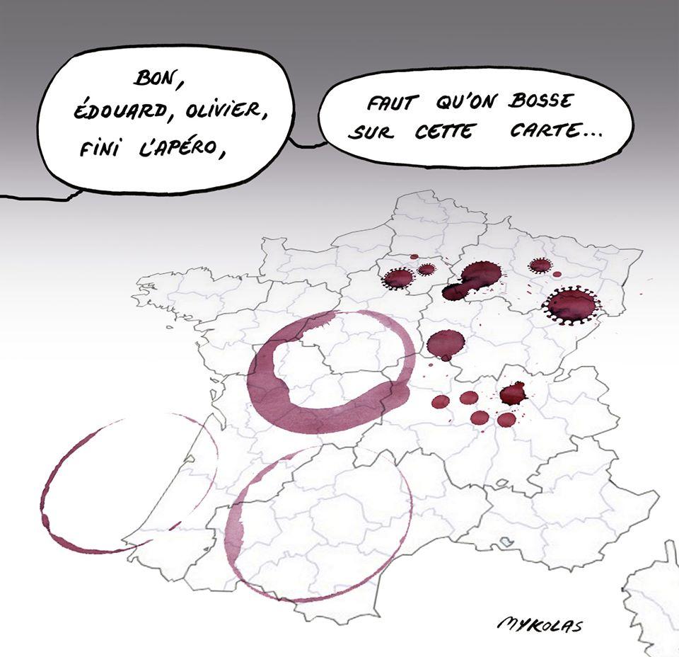 dessin d'actualité humoristique de Mykolas sur la carte du déconfinement
