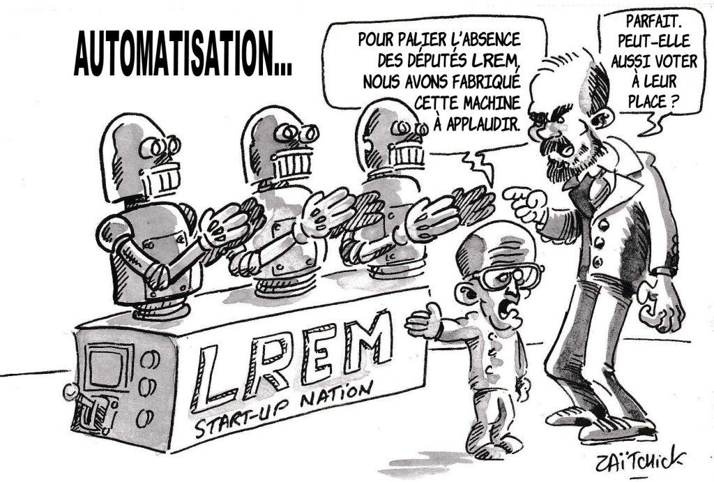 dessin de Zaïtchick sur le confinement à l'Assemblée Nationale et les députés LREM