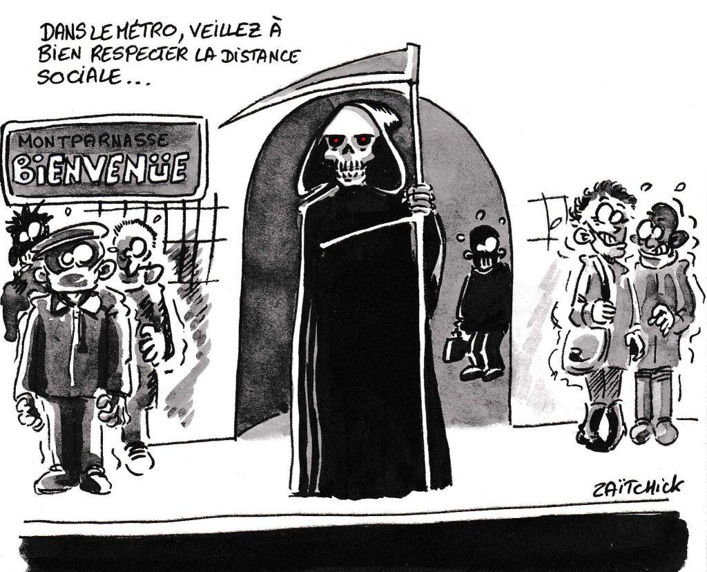 dessin de Zaïtchick sur la communication d'Édouard Philippe et le respect des distances sociales dans le métro