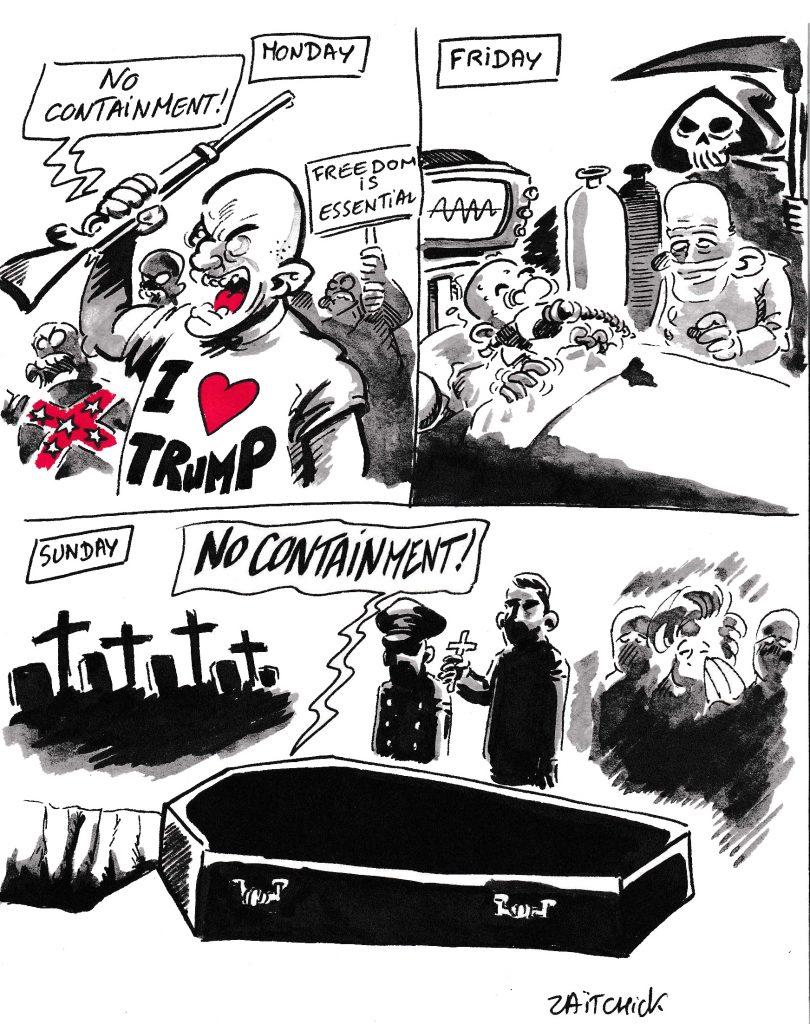 dessin de Zaïtchick sur le confinement aux États-Unis