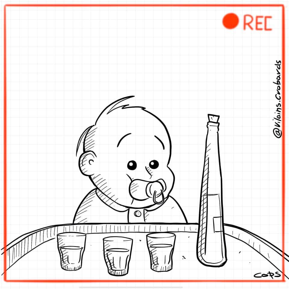 dessin de Cops sur les défis boisson en Belgique lors du confinement