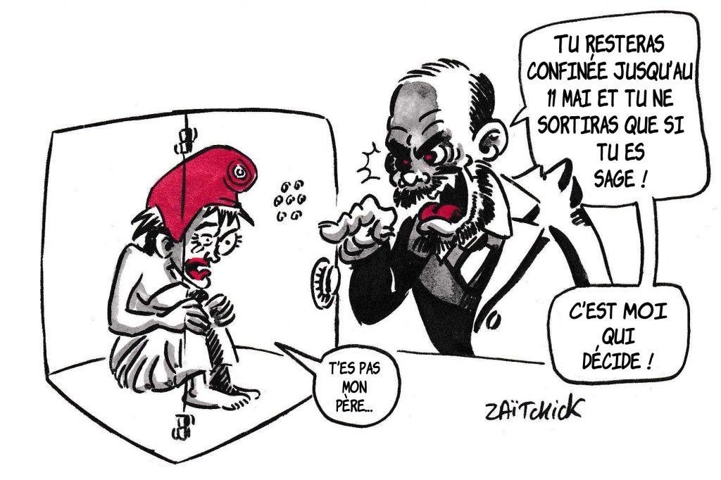 dessin de Zaïtchick sur le déconfinement progressif et Édouard Philippe