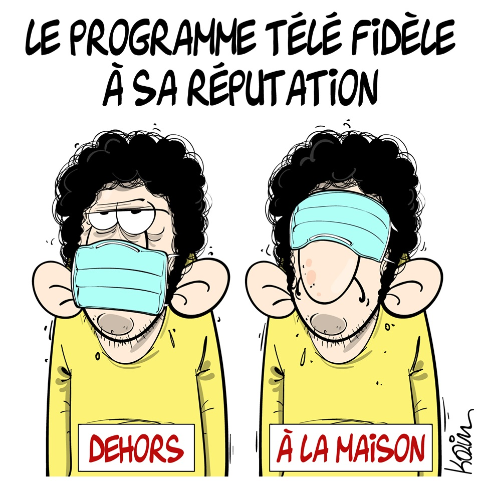 dessin d'actualité humoristique de Karim sur l'épidémie de coronavirus et les programmes télévisés