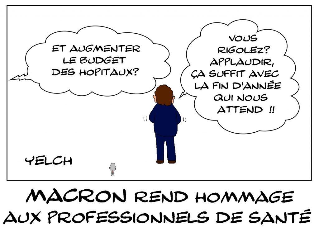 dessin de Yelch sur l'épidémie de coronavirus et le soutien aux soignants d'Emmanuel Macron