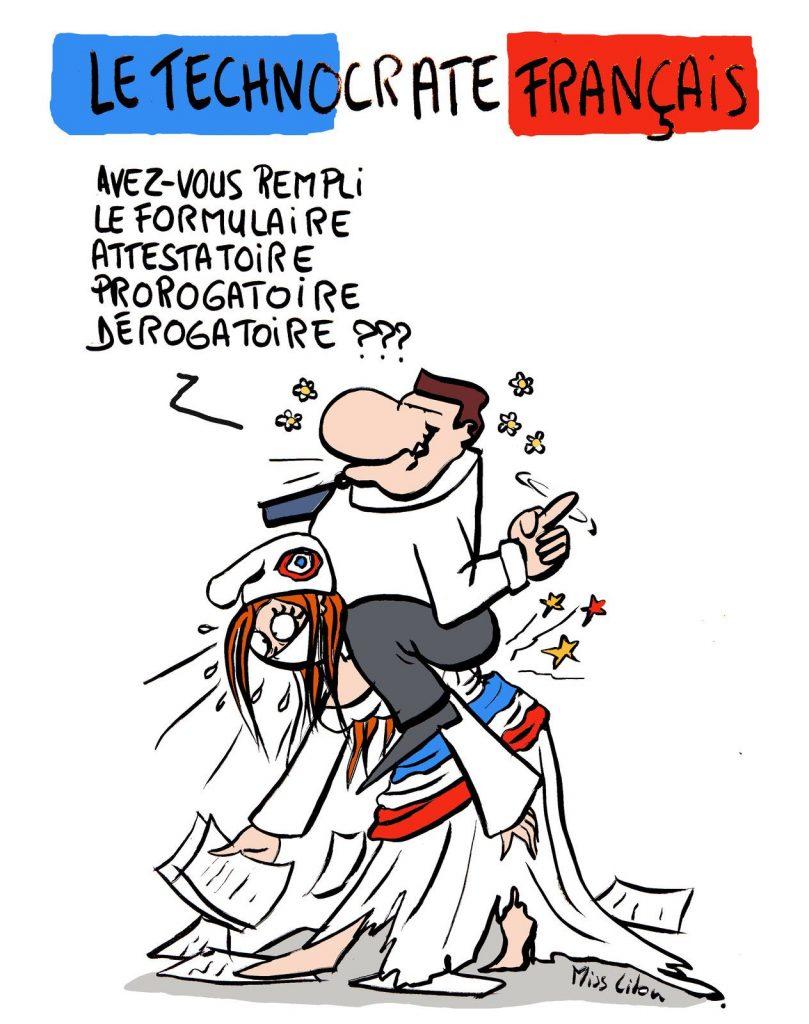 dessin de Miss Lilou sur la technocratie en France