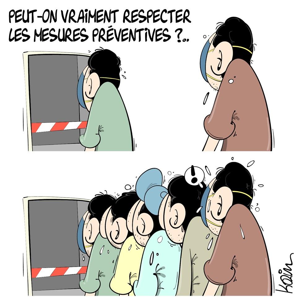 dessin d'actualité humoristique de Karim sur la crise sanitaire du coronavirus et les mesures préventives