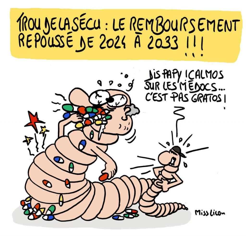 dessin de Miss Lilou sur la prolongation du remboursement de la dette sociale