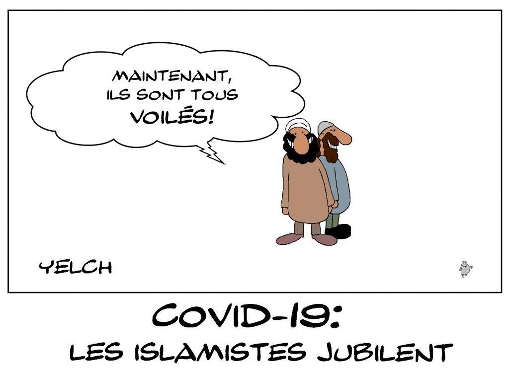 dessin de Yelch sur le coronavirus, les masques de protection et les islamistes