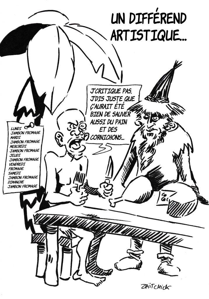dessin de Zaïtchick sur le déconfinement et les annonces d'Emmanuel Macron pour la culture