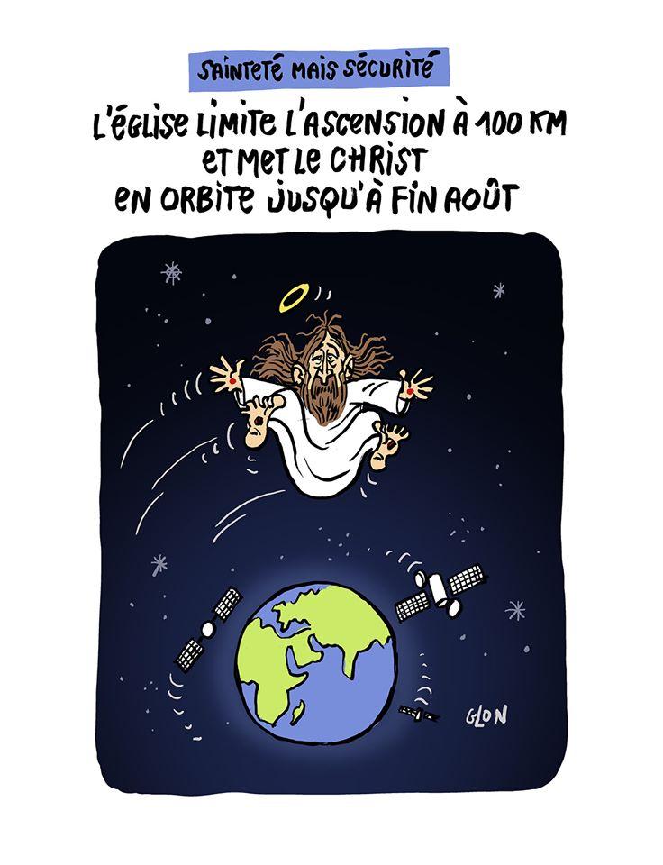 dessin humoristique de Glon sur le coronavirus, le déconfinement et l'église face à la limitation des 100 kilomètres