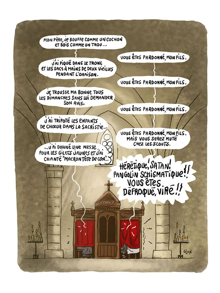 dessin humoristique de Glon sur le renvoi de l'église de l'abbé Francis Michel pour avoir chanté Macron tête de con