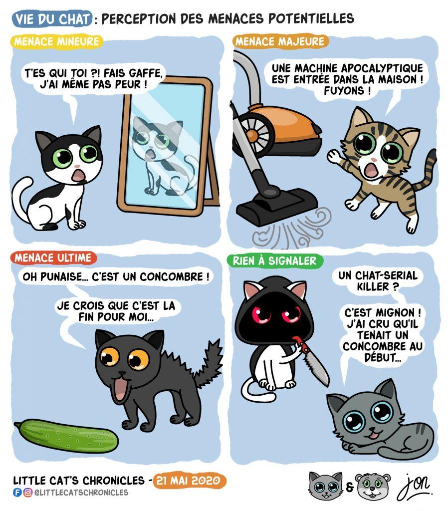 dessin humoristique des Little Cat's Chronicles sur la perception des menaces pour les chats