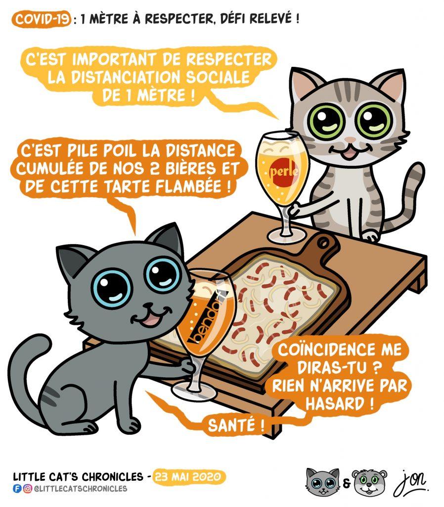 dessin humoristique des Little Cat's Chronicles sur le déconfinement et la distanciation sociale en Alsace