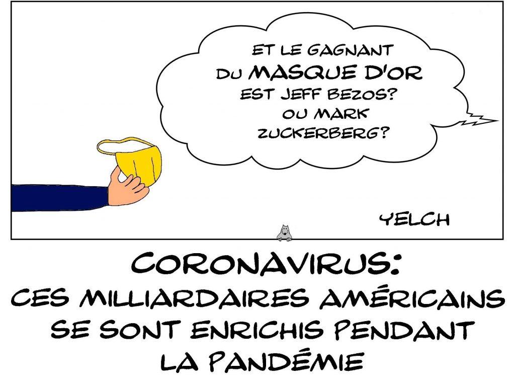dessin de Yelch sur les milliardaires qui se sont enrichis pendant la crise du coronavirus