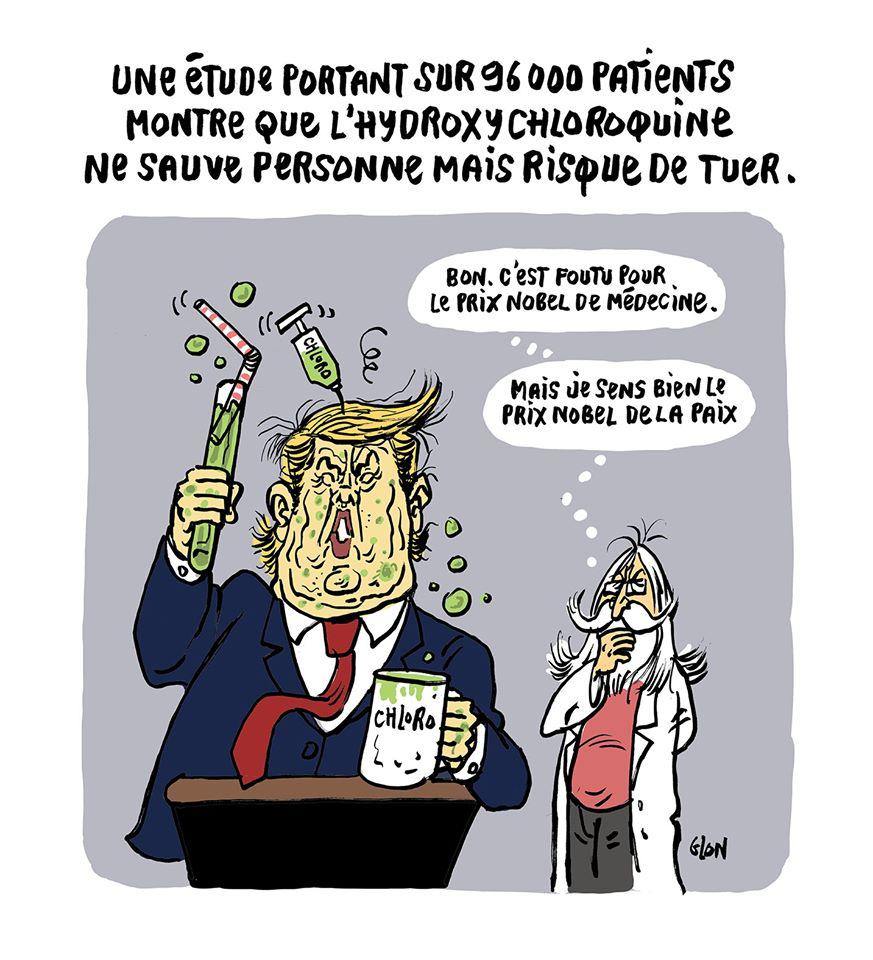 dessin humoristique de Glon sur la chloroquine, Didier Raoult et Donald Trump