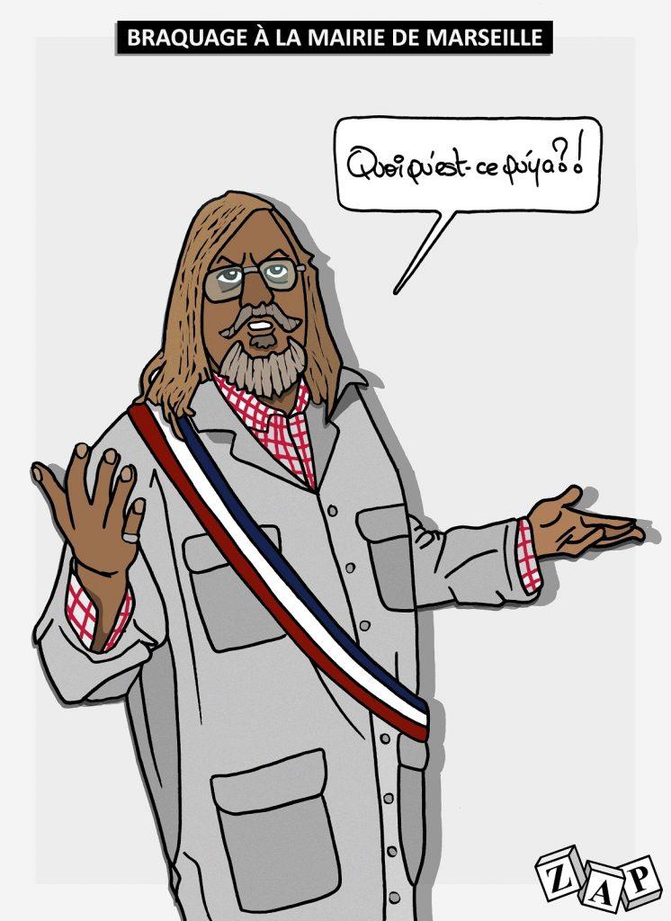 dessin d'actualité de Zap sur le coronavirus et le professeur Raoult à Marseille
