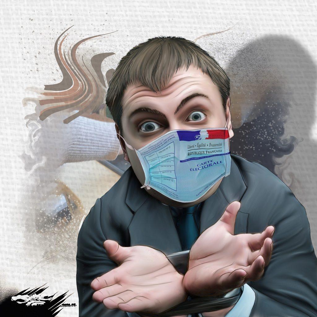 dessin d'actualité humoristique de Jerc sur le déconfinement et la tenue du deuxième tour des municipales