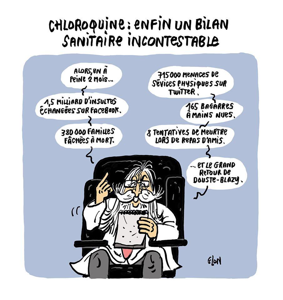 dessin humoristique de Glon sur la chloroquine, Didier Raoult et le bilan sanitaire