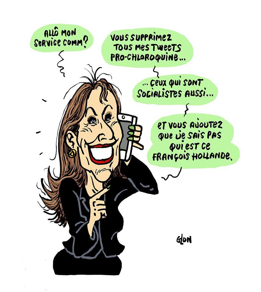 dessin humoristique de Glon sur la chloroquine et la suppression des tweets pro-chloroquine de Ségolène Royal