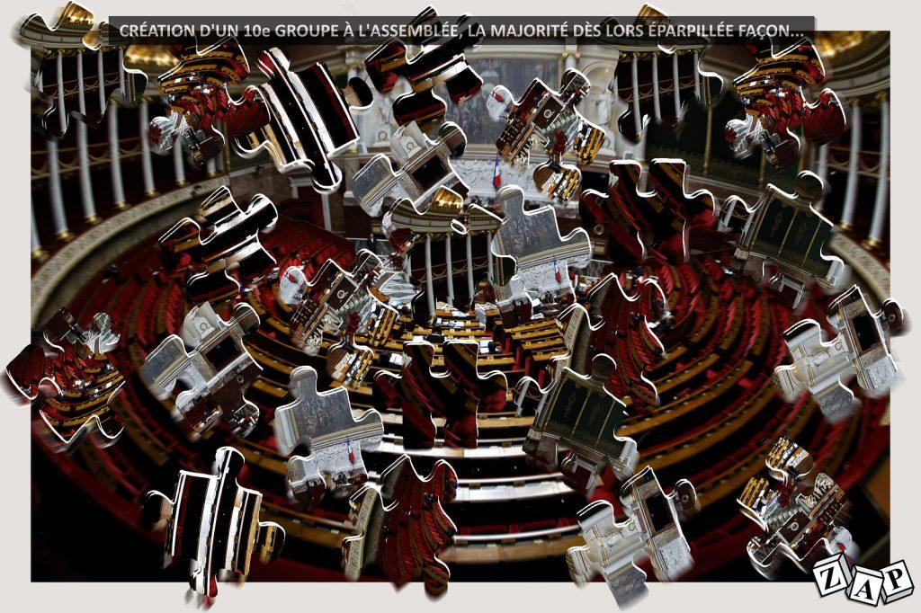 dessin d'actualité de Zap sur la création d'un dixième groupe issu de la majorité présidentielle à l'Assemblée Nationale