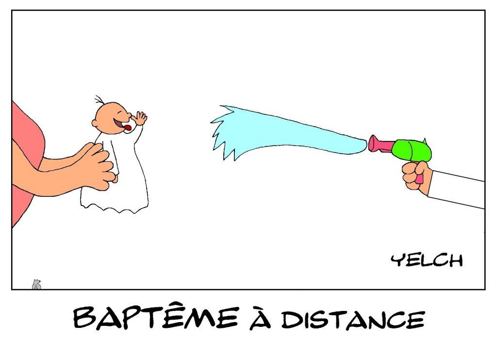 dessin de Yelch sur le déconfinement et les baptêmes religieux avec les gestes barrières