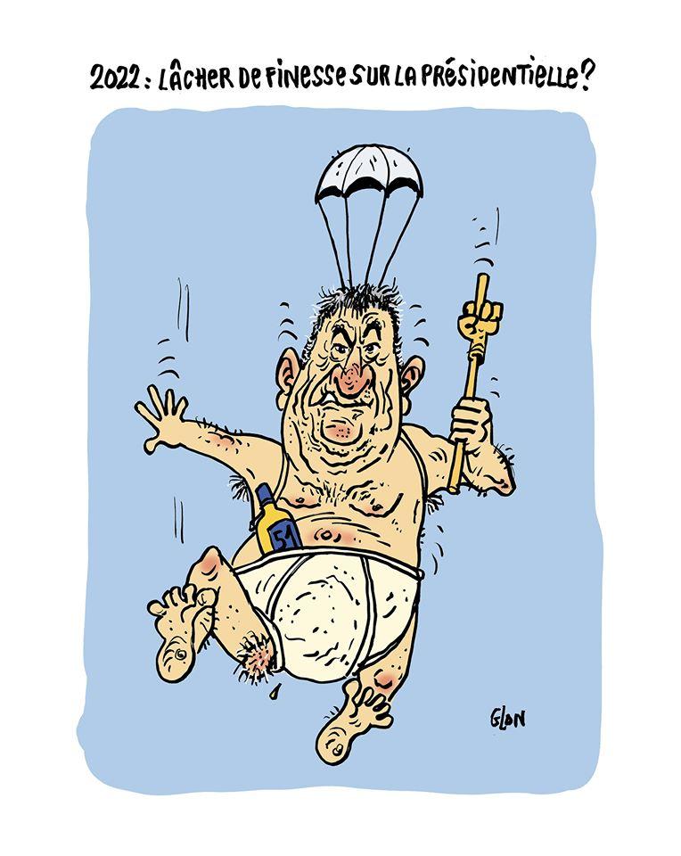 dessin humoristique de Glon sur la possible candidature de Jean-Marie Bigard à l'élection présidentielle de 2022