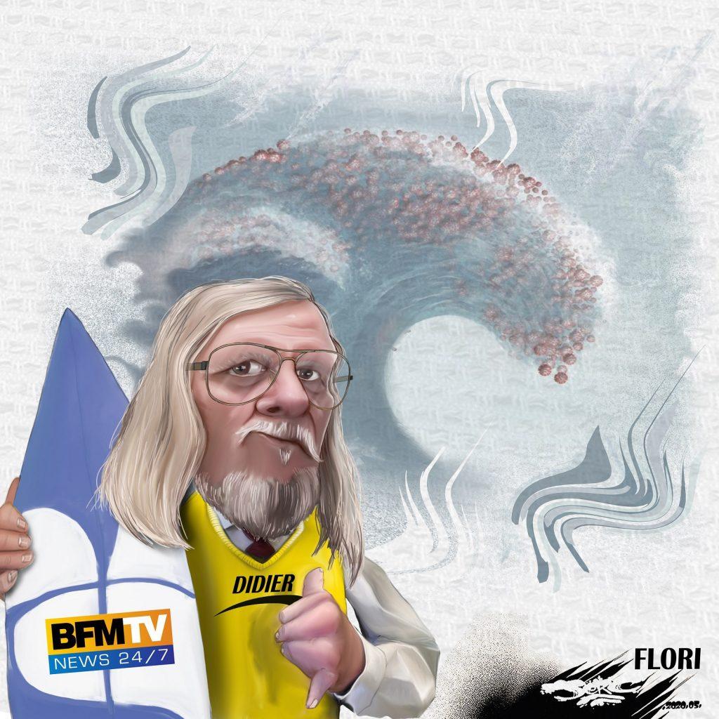 dessin d'actualité humoristique de Jerc sur le déconfinement, la seconde vague et le Professeur Raoult
