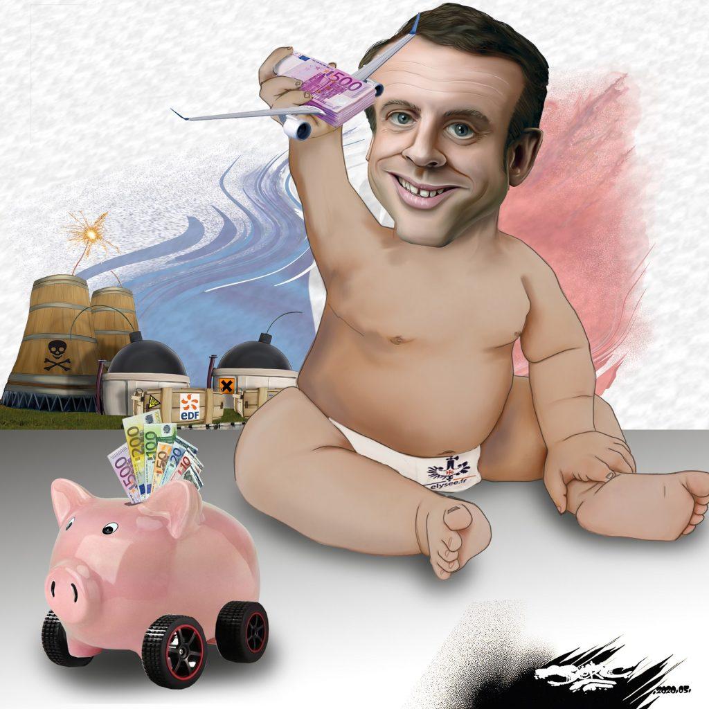 dessin d'actualité humoristique de Jerc sur la relance de l'industrie préparée par Emmanuel Macron