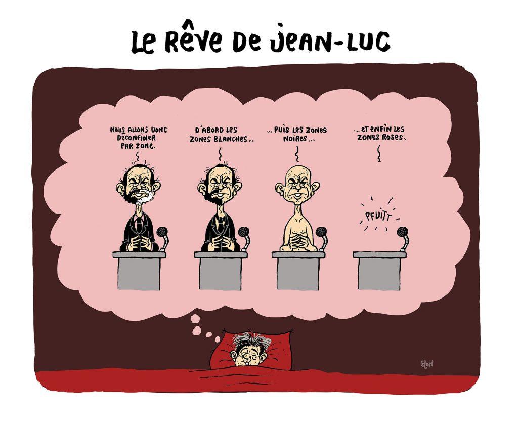 dessin humoristique de Glon sur le déconfinement par zones et la disparition d'Édouard Philippe rêvée par Jean-Luc Mélenchon