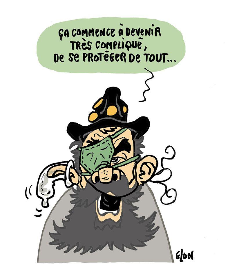dessin humoristique de Glon sur l'épidémie de coronavirus, les mesures sanitaires et Jérôme Rodrigues