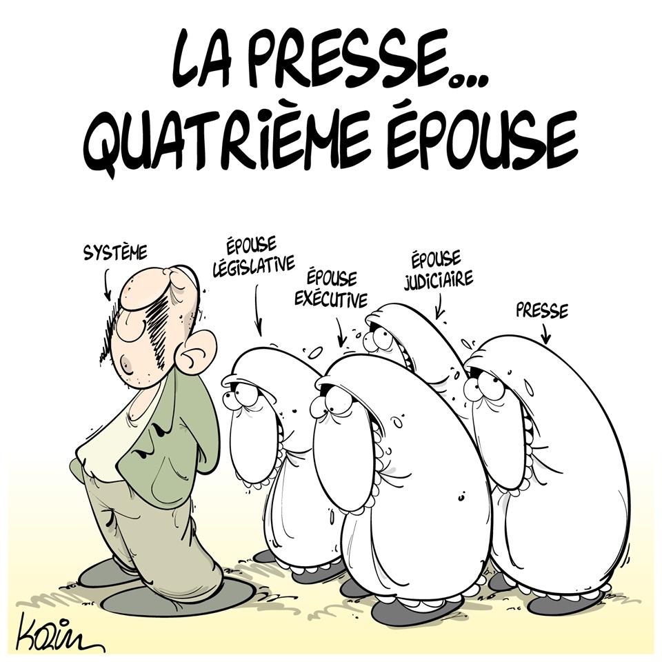 dessin d'actualité humoristique de Karim sur la presse face au pouvoir