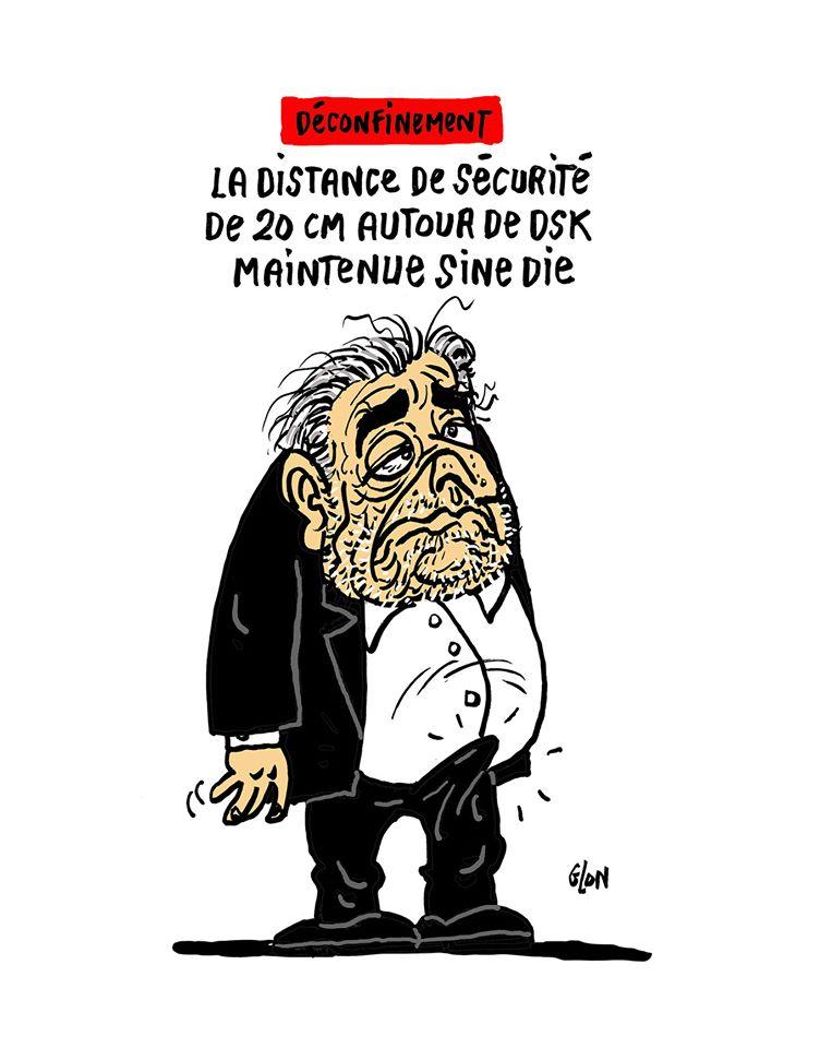 dessin humoristique de Glon sur le déconfinement et Dominique Strauss-Kahn