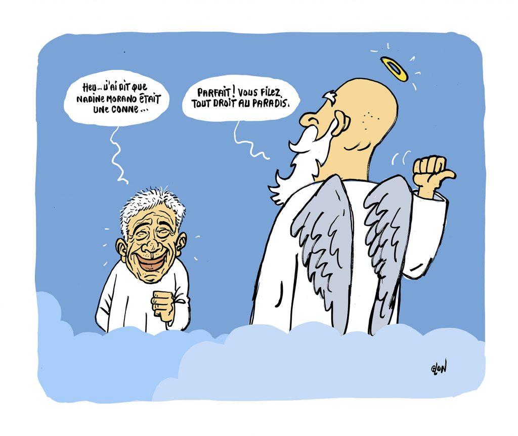 dessin humoristique de Glon sur le décès de Guy Bedos