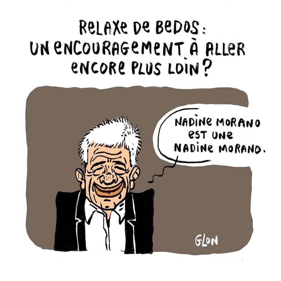 dessin humoristique de Glon sur la relaxe de Guy Bedos après le procès intenté par Nadine Morano
