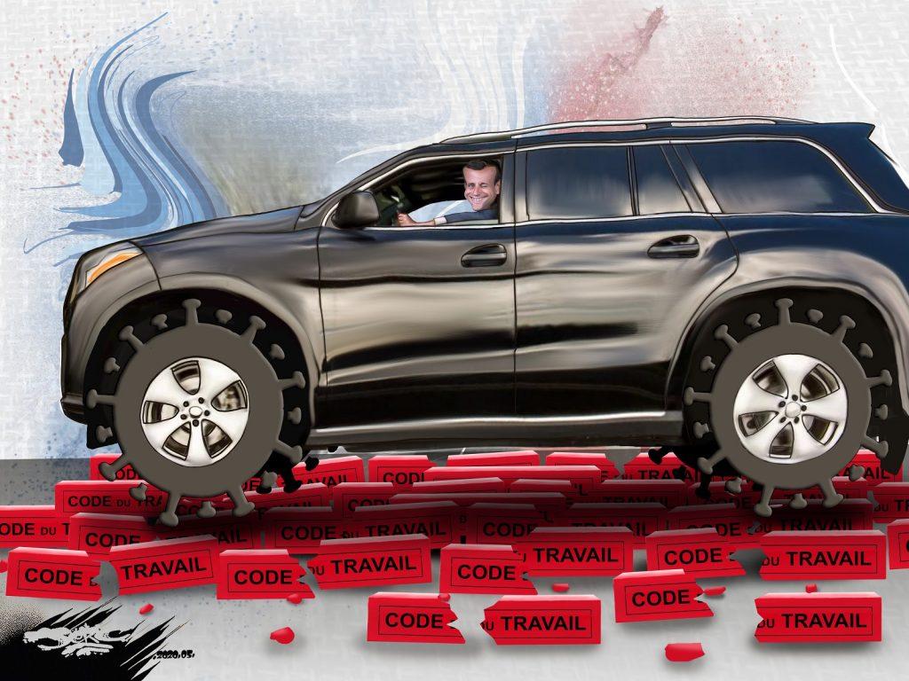 dessin d'actualité humoristique de Jerc sur la relance de l'industrie automobile préparée par Emmanuel Macron