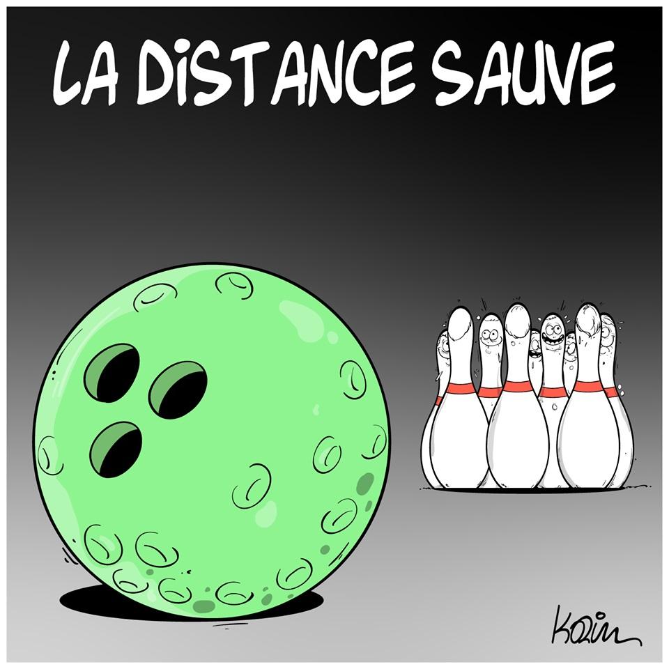 dessin d'actualité humoristique de Karim sur l'épidémie de coronavirus et la distanciation sociale