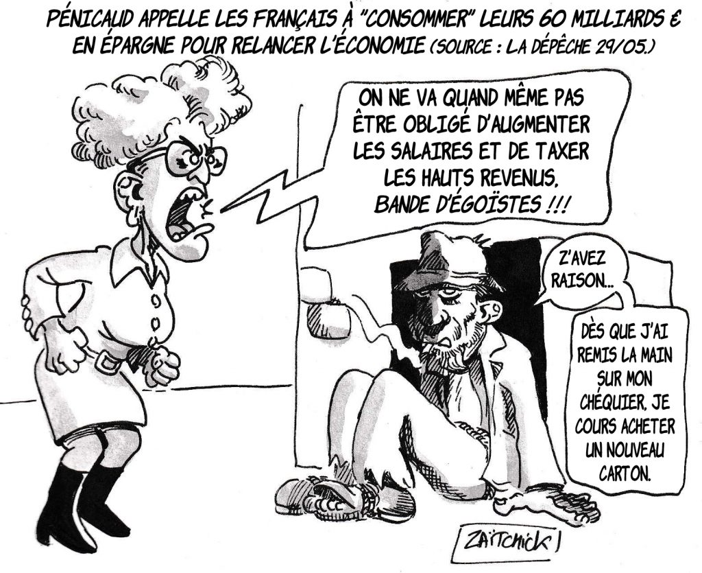 dessin de Zaïtchick sur la relance économique après la crise sanitaire et Muriel Pénicaud