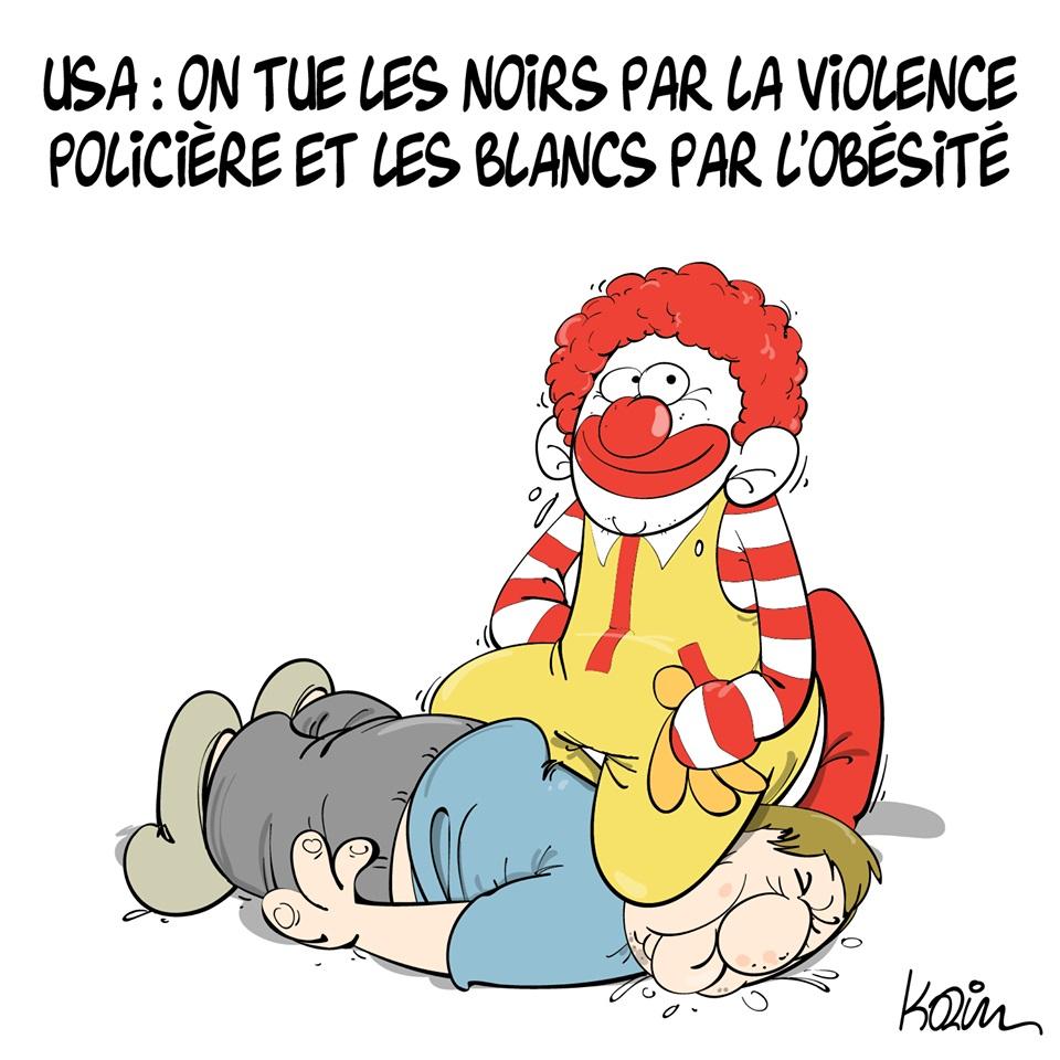 dessin d'actualité humoristique de Karim sur le meurtre de George Floyd à Minneapolis aux États-Unis
