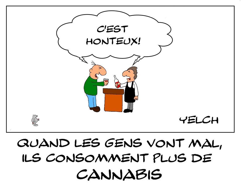 dessin de Yelch sur l'épidémie de coronavirus, le mal-être et la consommation de cannabis