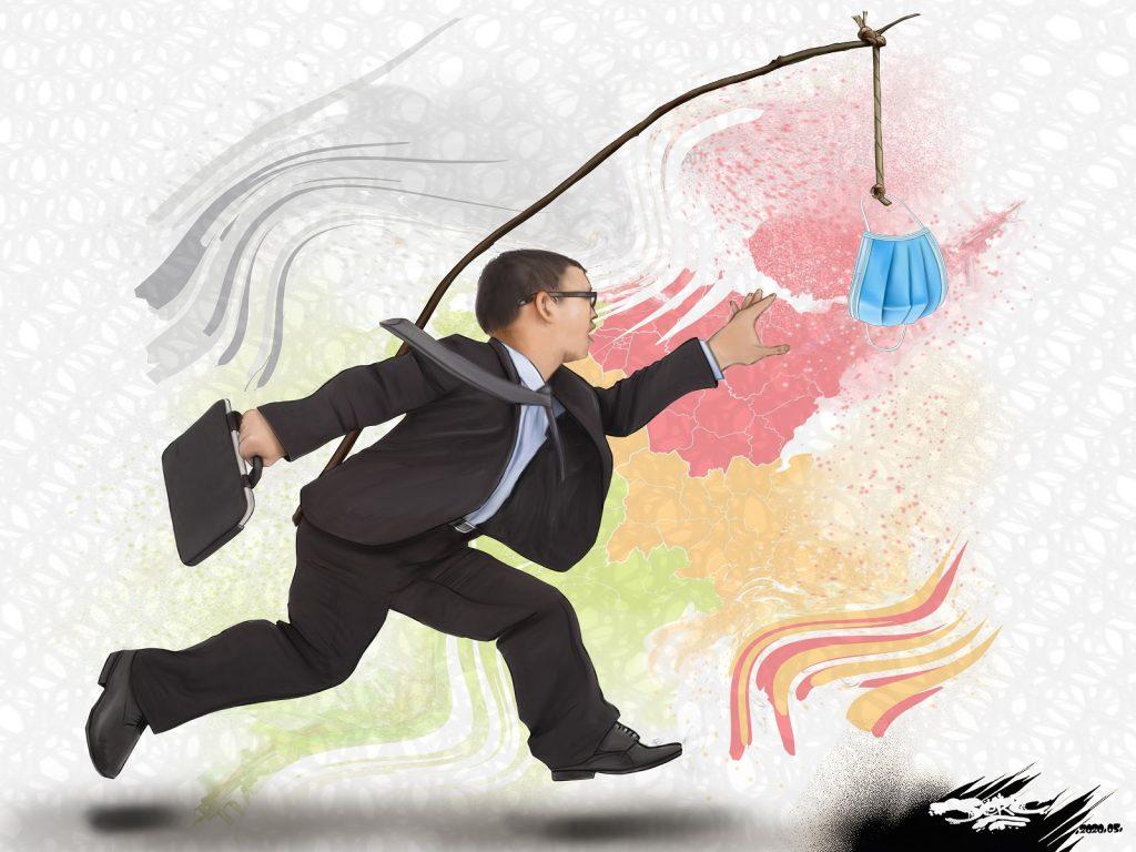 dessin d'actualité humoristique de Jerc sur l'impréparation du gouvernement pour le déconfinement