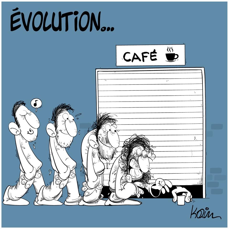 dessin d'actualité humoristique de Karim sur l'épidémie de coronavirus et la fermeture des bars et café