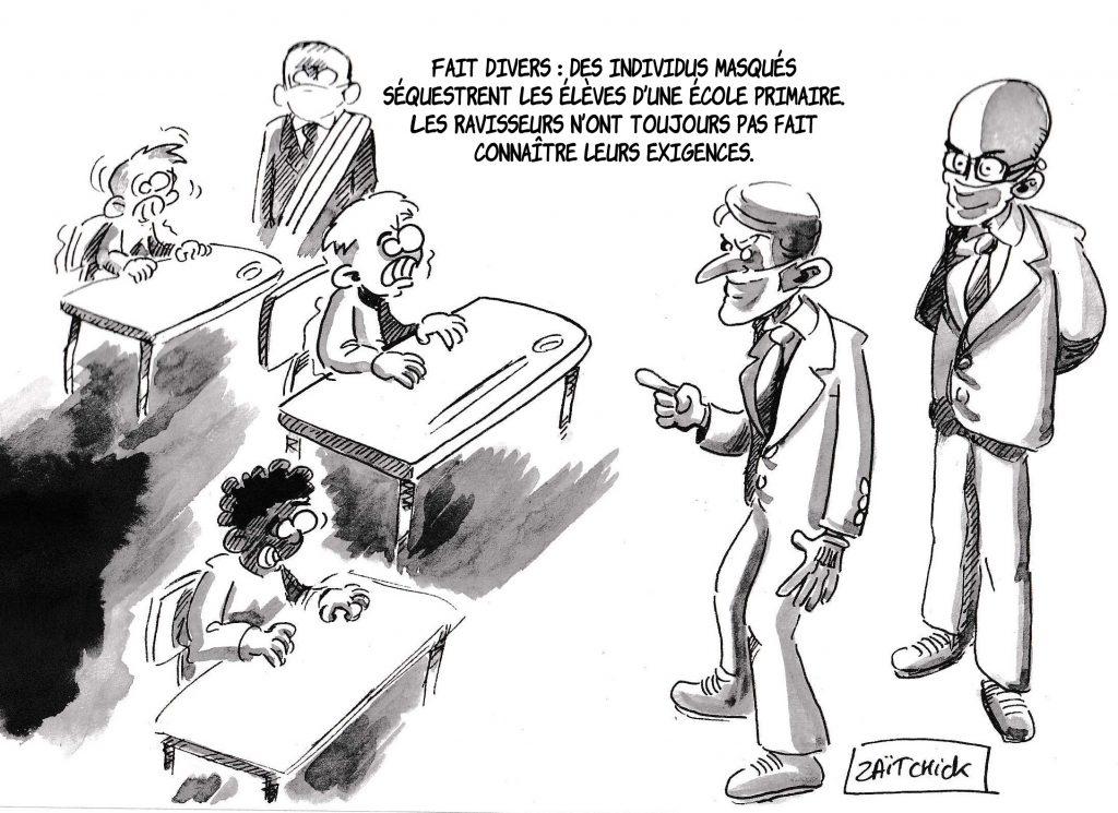 dessin de Zaïtchick sur le déconfinement et la visite d'Emmanuel Macron dans une école de Poissy