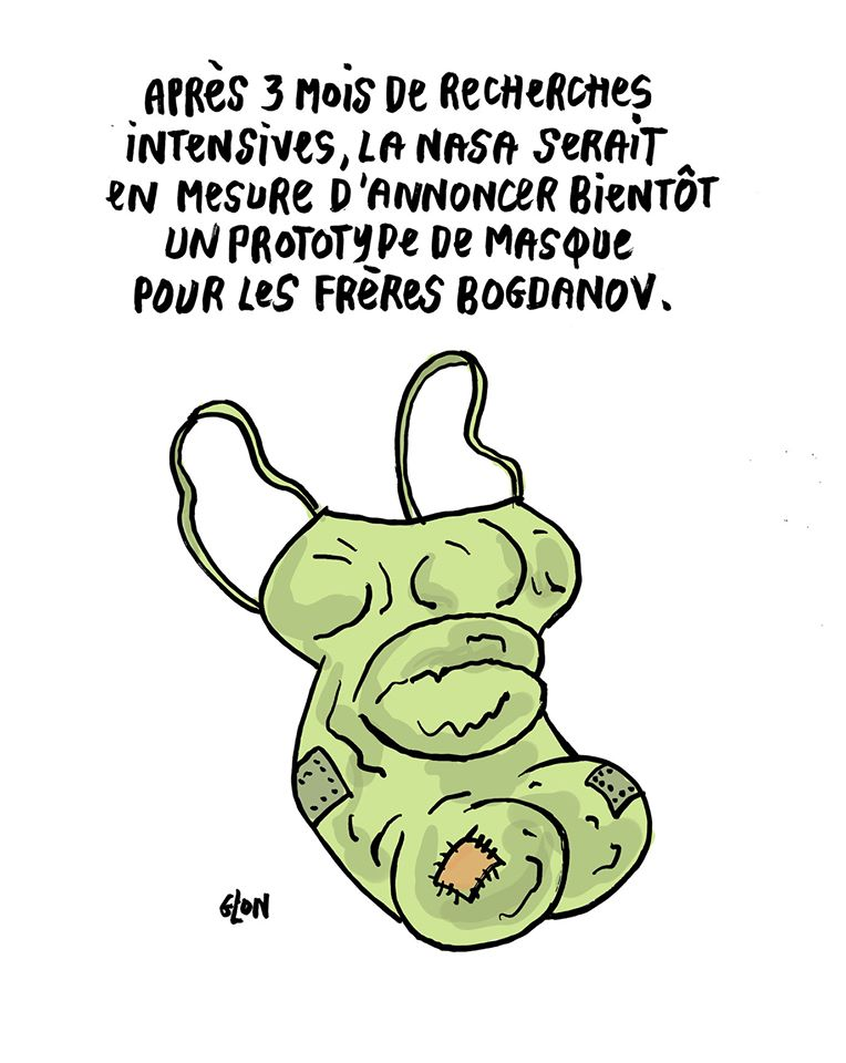 dessin humoristique de Glon sur l'épidémie de coronavirus, les masques de protection et les frères Bogdanov