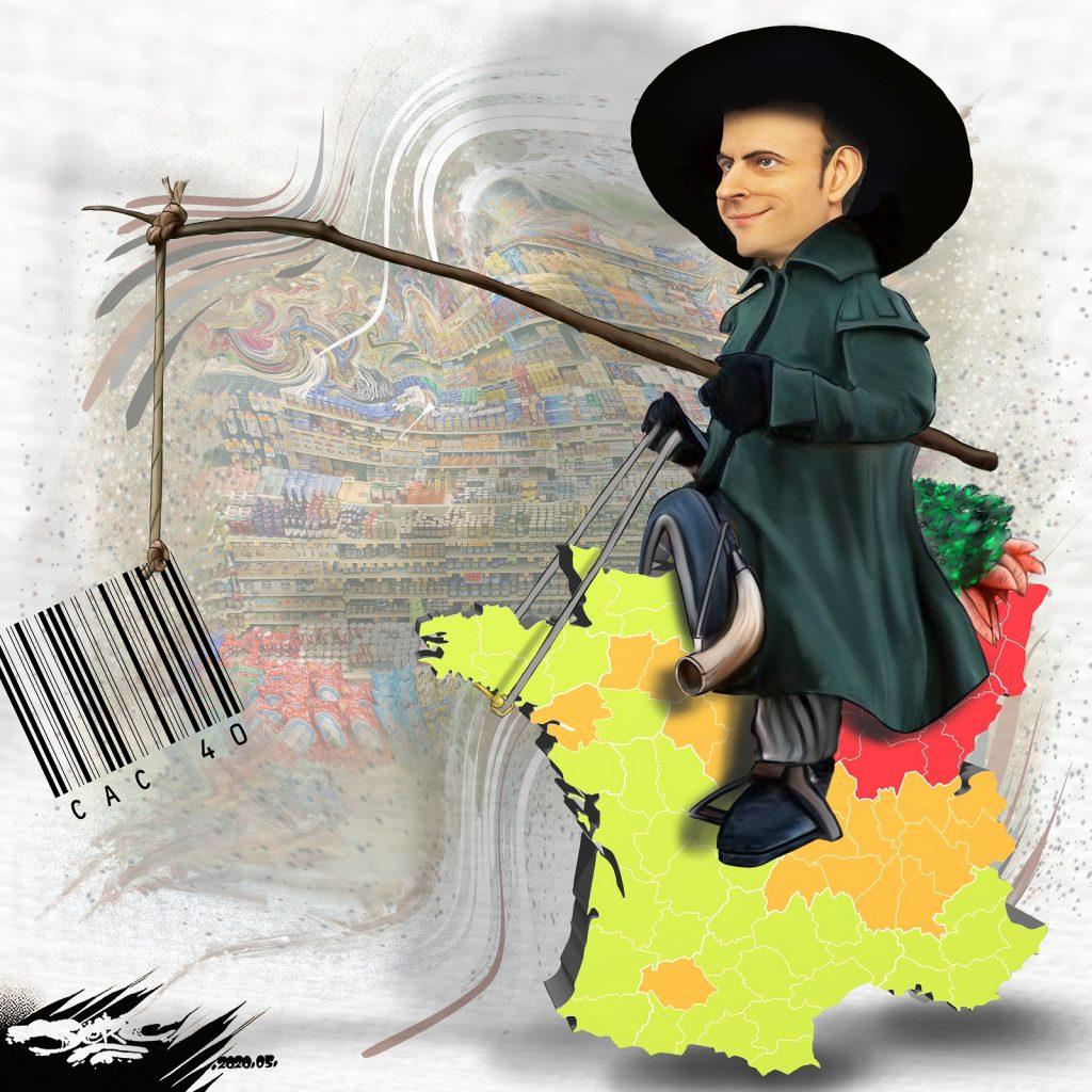 dessin d'actualité humoristique de Jerc sur Emmanuel Macron et le déconfinement par zones